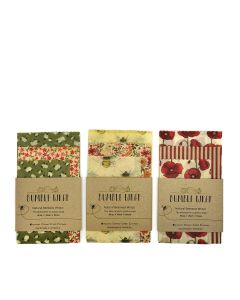 Bumble Wrap  - Assorted Beeswax Kitchen Wraps: Strawberry, Bee, Flamingo - 30 x (3 Designs x 10 Packs)