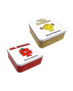 Little Miss & Mr Men - Mixed Case: Mr. Strong & Little Miss Sunshine Biscuit Tins - 12 x 200g