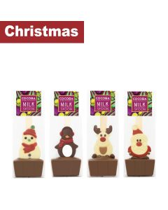 Cocoba - Mixed case of Festive Hot Chocolate Spoons; Chocolate Santa, Chocolate Snowman, Chocolate Reindeer & a Chocolate Penguin - 4 x 3  x 50g