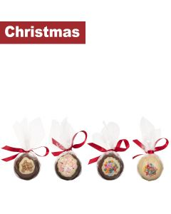 Cocoba - Mixed Case of Festive Belgian Chocolate Baubles - 4 x 2 x 100g