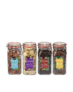 Cocoba - Mixed Case of Giant Jars of Milk, Dark, White and Salted Caramel Chocolate Buttons - 4 x 900g