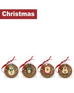 Cocoba - Mixed case of Christmas Tree Hangers; Santa, Reindeer, Penguin & Snowman - 4 x 3 x 50g