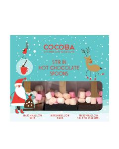 Cocoba - Gift Set of 3 Hot Chocolate Marshmallow Spoons - 6 x 150g