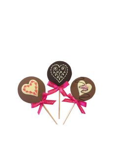 Chocolate Craft - Mixed Case of 3 Heart Design Lollies - 10 x 30g