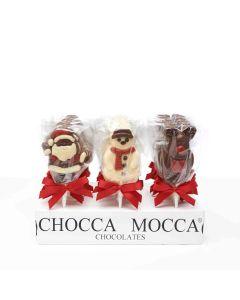 Chocca Mocca - Christmas Lollies - Reindeer, Santa, Snowman Mixed - 27 x 25g