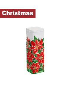 Churchill's Confectionery - Tall Poinsettia Tin with Chocolate Chip Shortbread - 12 x 250g