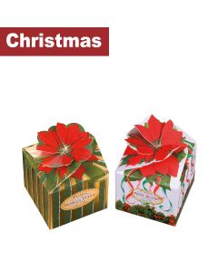 Churchill's Confectionery - Poinsettia Boxes with Vanilla Fudge and Fruit Jellies - 12 x 250-300g