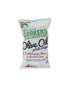 Corkers Crisps - Meditteranean Cheese & Roasted Onion Crisps - 8 x 130g