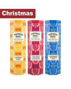 Shortbread House of Edinburgh - Mixed case Shortbread Octagonal Biscuit Tin – Clotted Cream, Salted Caramel and White Choc & Hazelnut 3 x 4 x 140g - 12 x 140