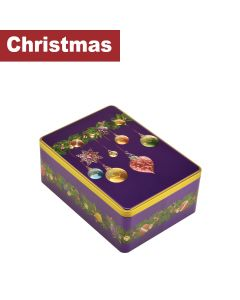 Farmhouse Biscuits Ltd - Christmas Purple Bauble Rectangle Tin - 12 x 400g