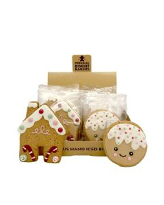 Original Biscuit Bakers - Iced Gingerbread Man Face & Christmas House - 12 x 40/50g