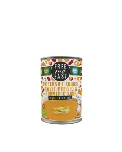 Free & Easy - Organic Low Salt Butternut Squash, Sweet Potato, & Turmeric Soup - 6 x 400g