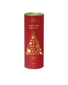 Grandma Wilds Biscuits - Ornate Christmas Tree Tube with Cranberry Biscuits - 12 x 150g