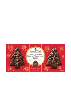 Grandma Wilds Biscuits - Dark Chocolate Festive Shortbread Trees Topped with Golden Crunch - 10 x 165g