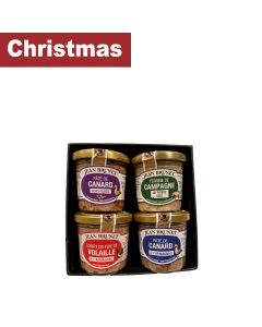 Jean Brunet - Christmas Set; Duck paté with Armagnac, Duck Paté with Figs, Farmhouse Paté with Green Peppers, Chicken Liver - 20 x 360g