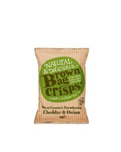 Brown Bag Crisps - West Country Farmhouse Cheddar & Onion Crisps - 20 x 40g