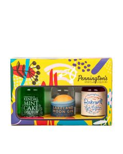 Pennington's Spirits - Miniature Trio Gift Set of Mint Cake Liqueur 24% Abv, Lakeland Moon Gin 42.1% Abv & Bakewell Gin Liqueur 20% Abv - 6 x 3 x 50ml