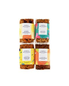 Simply Delicious Cake Co, The - Gluten Free Mixed Case of Loaf Cakes: GF Cranberry, Apricot & Walnut, GF Apple & Date Fruit Cake, Lemon & Lime Marmalade Fruit Cake, GF Orange & Ginger Fruit Cake  - 8 x 500g