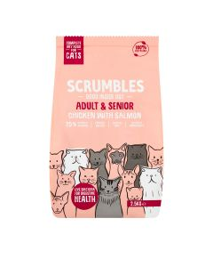 Scrumbles - Complete Dry Cat Food for Adult & Senior - Chicken with Salmon - 4 x 2.5kg