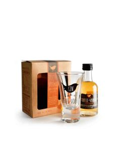 Kin Toffee Vodka - Gift Pack with Miniature Bottle of Toffee Vodka 20.3% Abv & Subtely Branded Glass - 6 x 200g