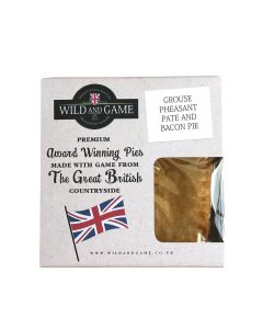 Wild and Game - Grouse Pheasant Pate and Bacon Pie - 6 x 160g (Min 5 DSL)